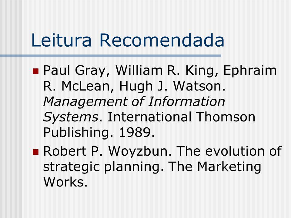 Leitura Recomendada Paul Gray, William R. King, Ephraim R. McLean, Hugh J. Watson. Management of Information Systems. International Thomson Publishing