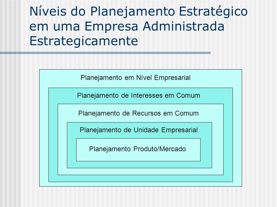 Níveis do Planejamento Estratégico em uma Empresa Administrada Estrategicamente Planejamento em Nível Empresarial Planejamento de Interesses em Comum