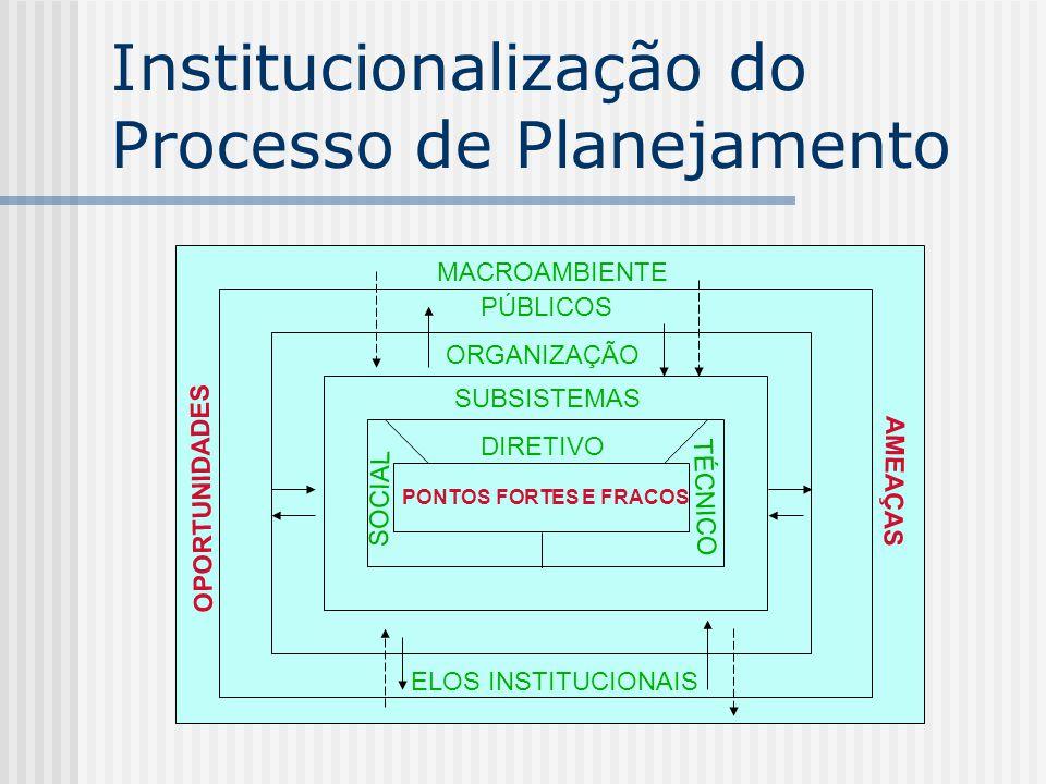 Institucionalização do Processo de Planejamento MACROAMBIENTE PÚBLICOS ORGANIZAÇÃO SUBSISTEMAS DIRETIVO PONTOS FORTES E FRACOS SOCIAL TÉCNICO ELOS INS