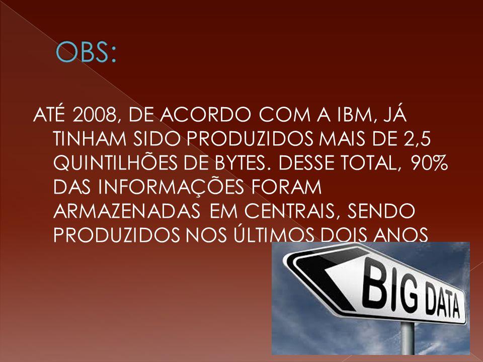 ATÉ 2008, DE ACORDO COM A IBM, JÁ TINHAM SIDO PRODUZIDOS MAIS DE 2,5 QUINTILHÕES DE BYTES.