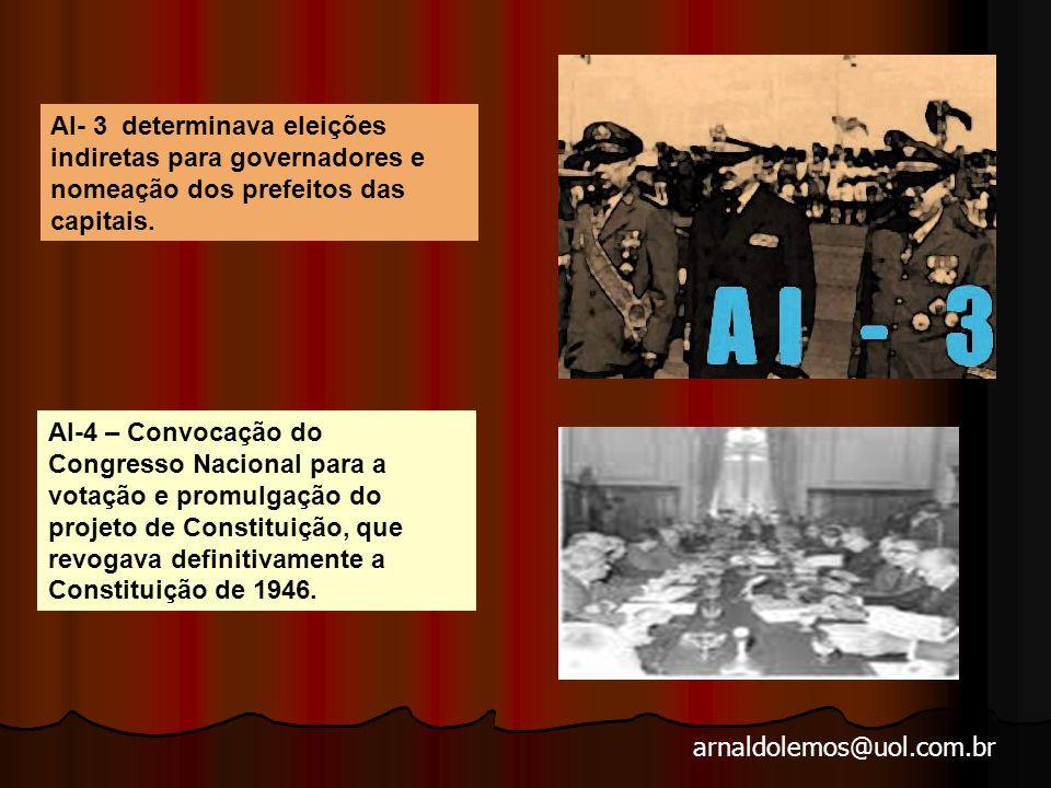 arnaldolemos@uol.com.br AI- 3 determinava eleições indiretas para governadores e nomeação dos prefeitos das capitais.