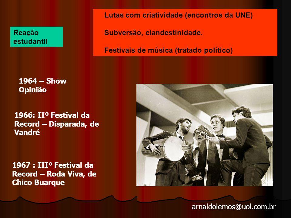 arnaldolemos@uol.com.br Lutas com criatividade (encontros da UNE) Subversão, clandestinidade.