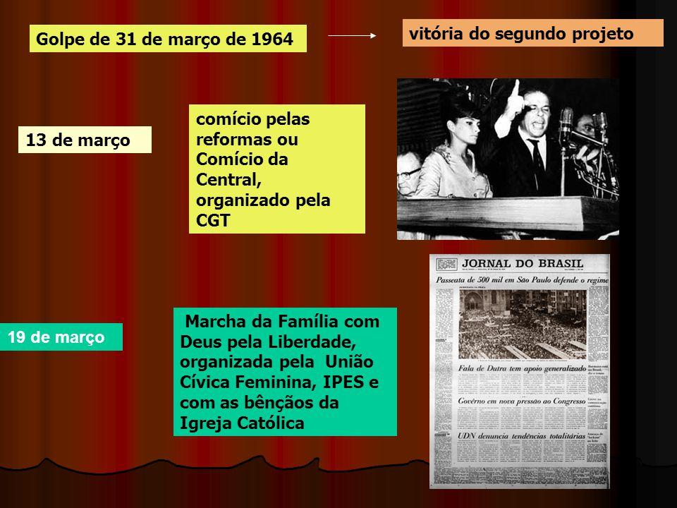 Golpe de 31 de março de 1964 13 de março 19 de março vitória do segundo projeto comício pelas reformas ou Comício da Central, organizado pela CGT Marc