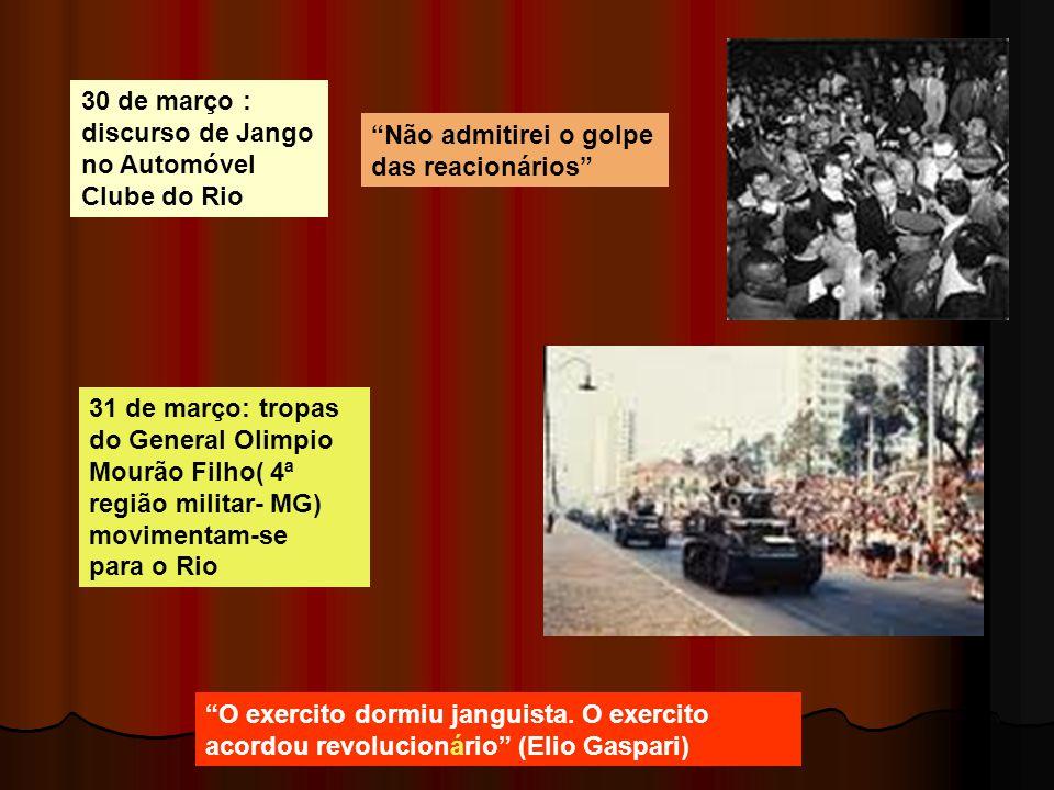 30 de março : discurso de Jango no Automóvel Clube do Rio 31 de março: tropas do General Olimpio Mourão Filho( 4ª região militar- MG) movimentam-se pa