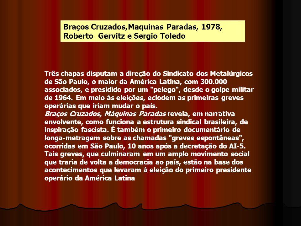 Braços Cruzados,Maquinas Paradas, 1978, Roberto Gervitz e Sergio Toledo Três chapas disputam a direção do Sindicato dos Metalúrgicos de São Paulo, o m