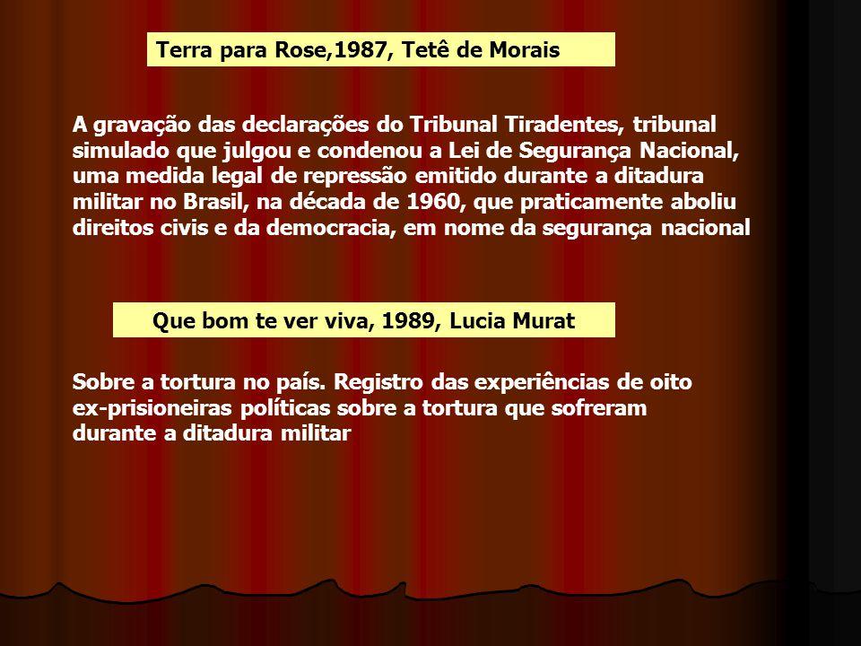 Terra para Rose,1987, Tetê de Morais A gravação das declarações do Tribunal Tiradentes, tribunal simulado que julgou e condenou a Lei de Segurança Nac