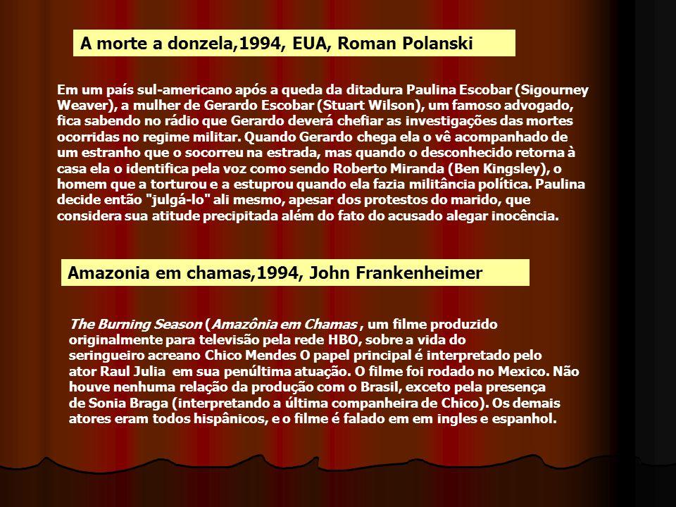 A morte a donzela,1994, EUA, Roman Polanski Em um país sul-americano após a queda da ditadura Paulina Escobar (Sigourney Weaver), a mulher de Gerardo