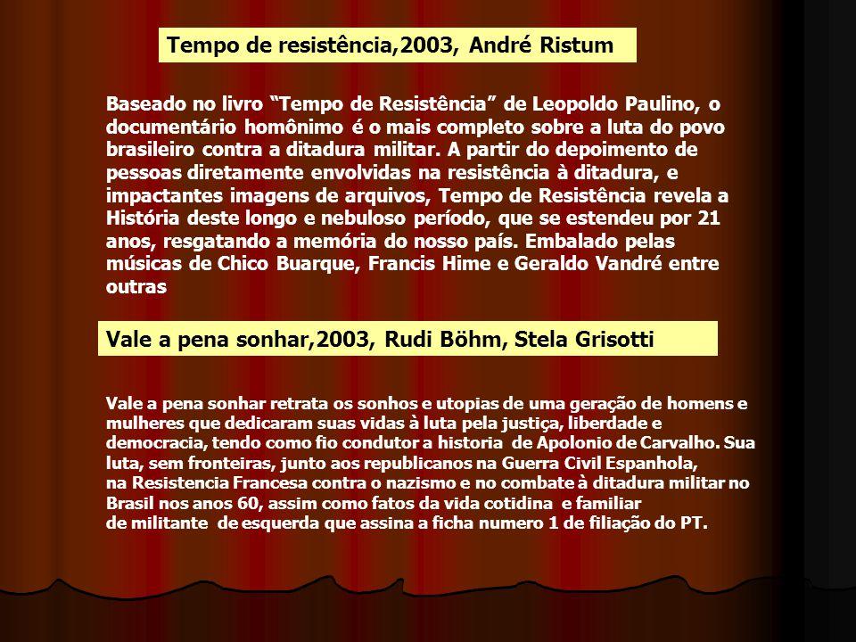 "Tempo de resistência,2003, André Ristum Vale a pena sonhar,2003, Rudi Böhm, Stela Grisotti Baseado no livro ""Tempo de Resistência"" de Leopoldo Paulino"
