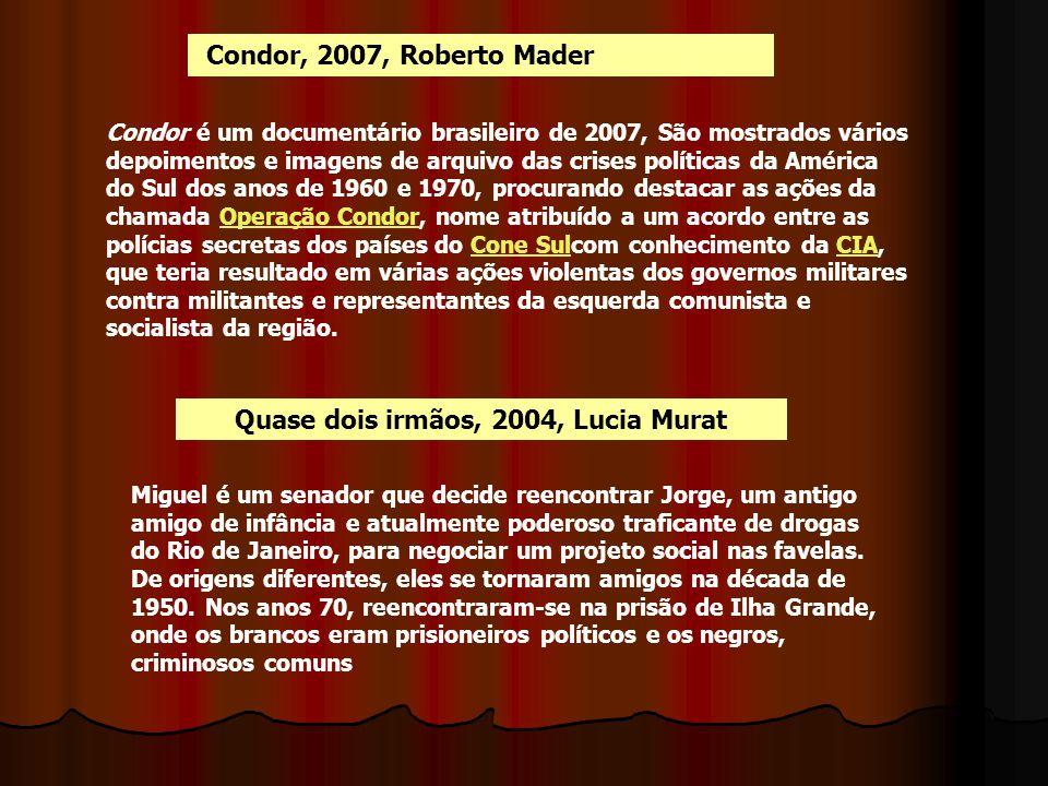 Condor, 2007, Roberto Mader Condor é um documentário brasileiro de 2007, São mostrados vários depoimentos e imagens de arquivo das crises políticas da