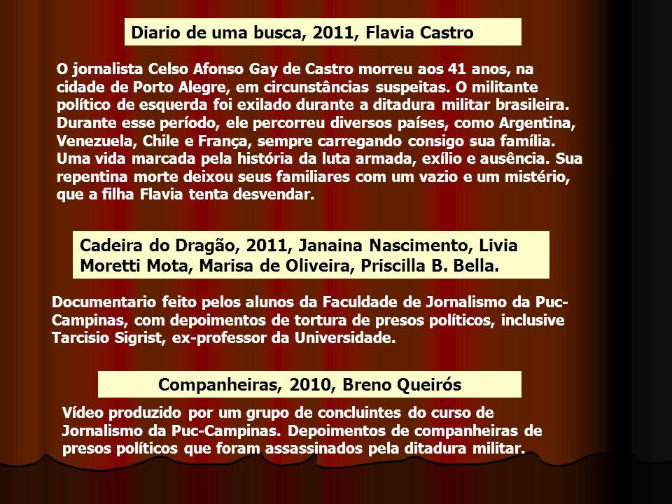 Diario de uma busca, 2011, Flavia Castro O jornalista Celso Afonso Gay de Castro morreu aos 41 anos, na cidade de Porto Alegre, em circunstâncias susp