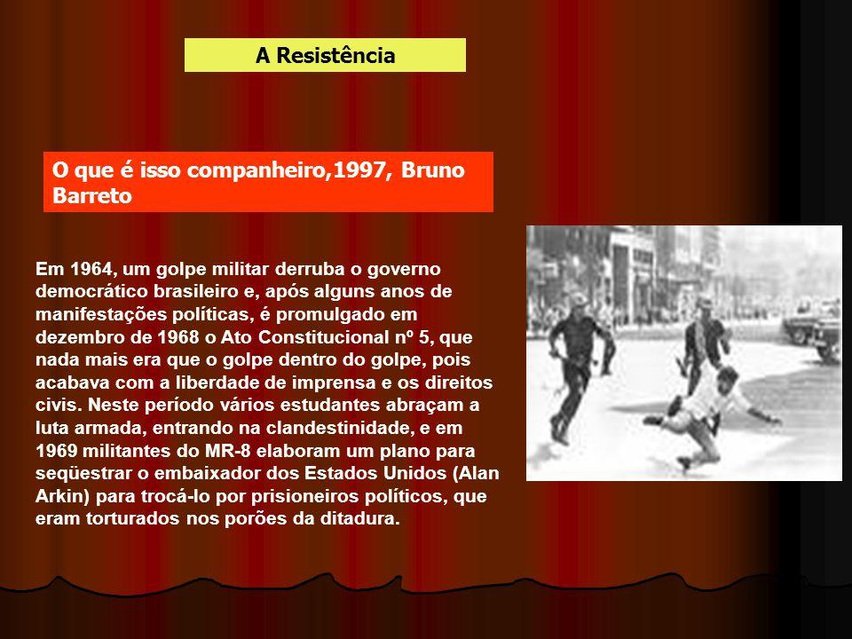 Em 1964, um golpe militar derruba o governo democrático brasileiro e, após alguns anos de manifestações políticas, é promulgado em dezembro de 1968 o
