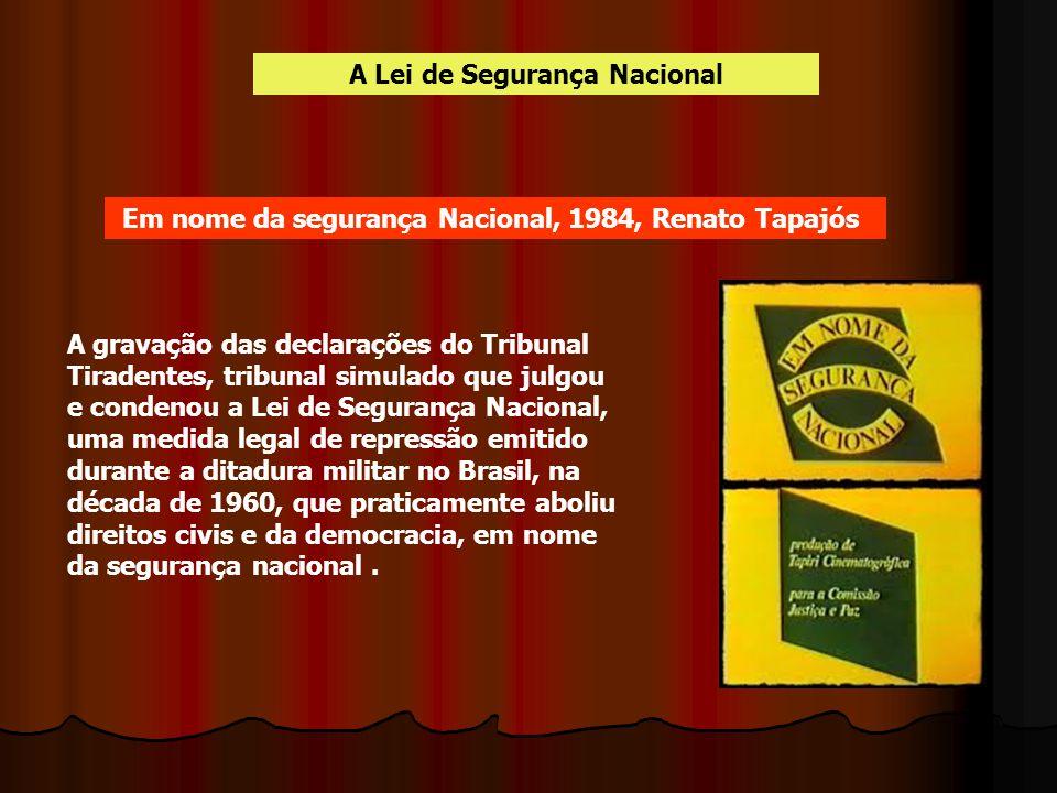 A Lei de Segurança Nacional A gravação das declarações do Tribunal Tiradentes, tribunal simulado que julgou e condenou a Lei de Segurança Nacional, um