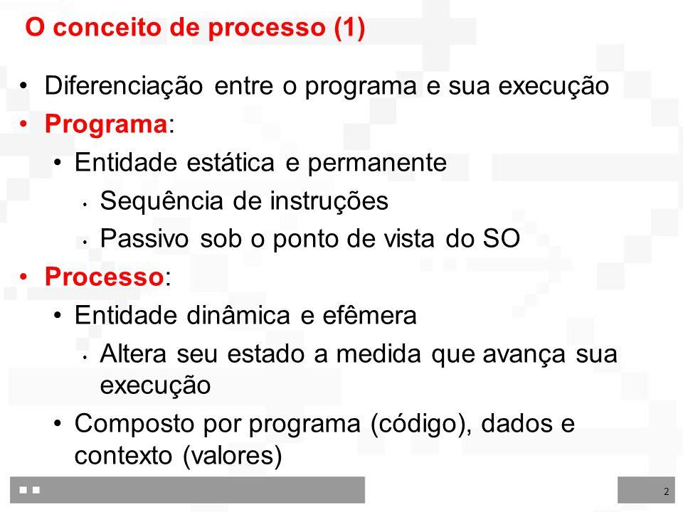 2 O conceito de processo (1) Diferenciação entre o programa e sua execução Programa: Entidade estática e permanente Sequência de instruções Passivo sob o ponto de vista do SO Processo: Entidade dinâmica e efêmera Altera seu estado a medida que avança sua execução Composto por programa (código), dados e contexto (valores)