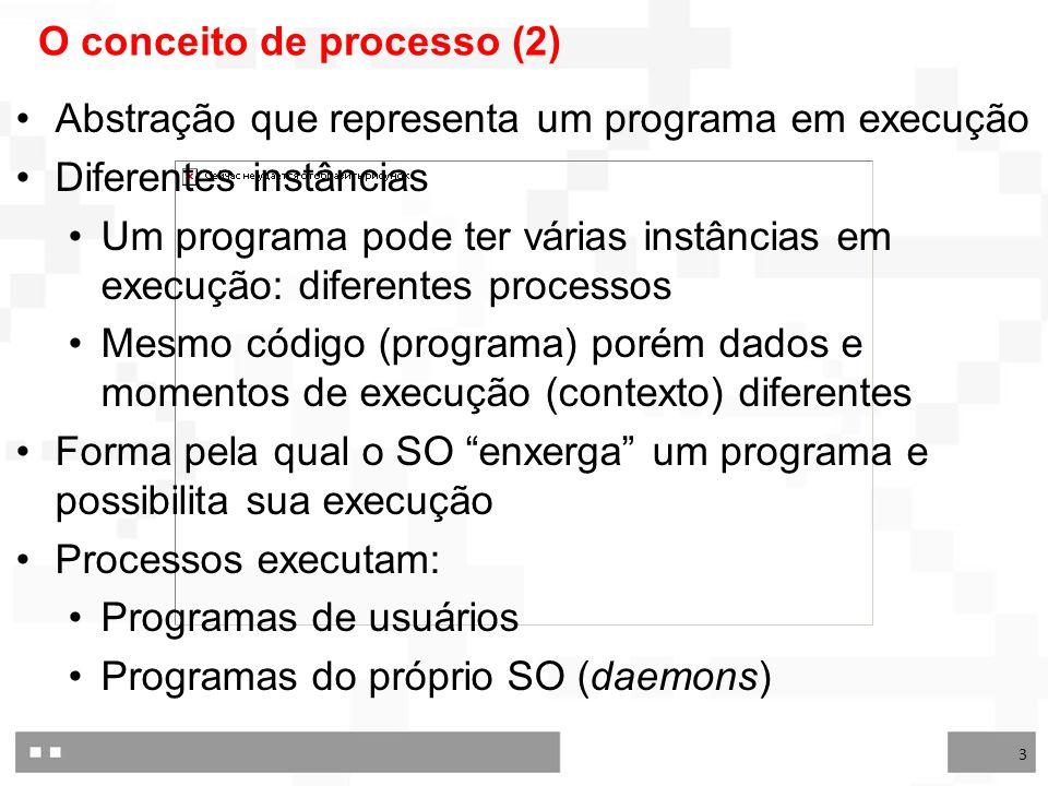 3 O conceito de processo (2) Abstração que representa um programa em execução Diferentes instâncias Um programa pode ter várias instâncias em execução: diferentes processos Mesmo código (programa) porém dados e momentos de execução (contexto) diferentes Forma pela qual o SO enxerga um programa e possibilita sua execução Processos executam: Programas de usuários Programas do próprio SO (daemons)