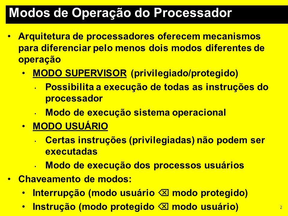Arquitetura de processadores oferecem mecanismos para diferenciar pelo menos dois modos diferentes de operação MODO SUPERVISOR (privilegiado/protegido
