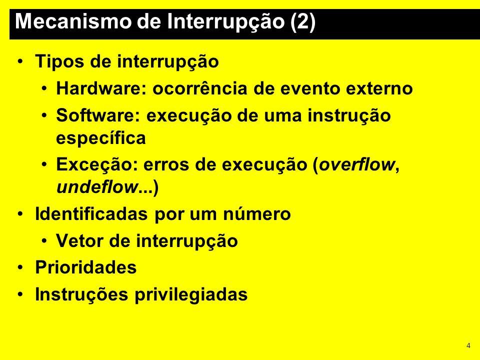 4 Tipos de interrupção Hardware: ocorrência de evento externo Software: execução de uma instrução específica Exceção: erros de execução (overflow, und