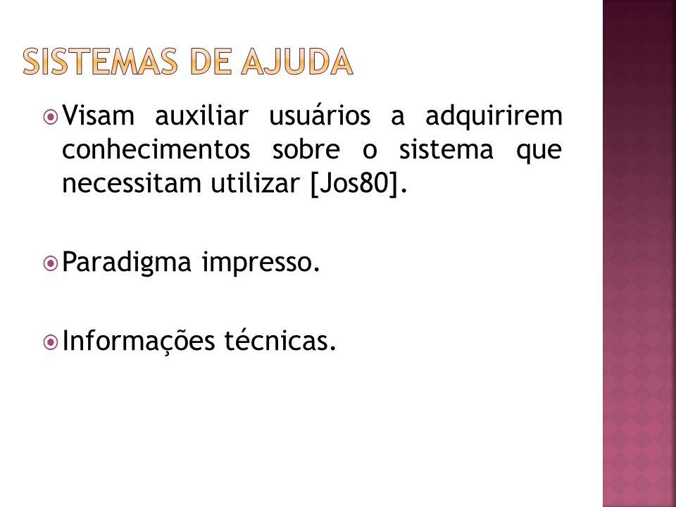  Visam auxiliar usuários a adquirirem conhecimentos sobre o sistema que necessitam utilizar [Jos80].