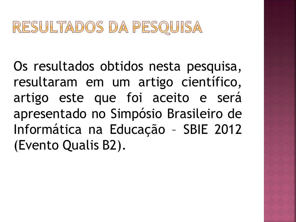 Os resultados obtidos nesta pesquisa, resultaram em um artigo científico, artigo este que foi aceito e será apresentado no Simpósio Brasileiro de Informática na Educação – SBIE 2012 (Evento Qualis B2).