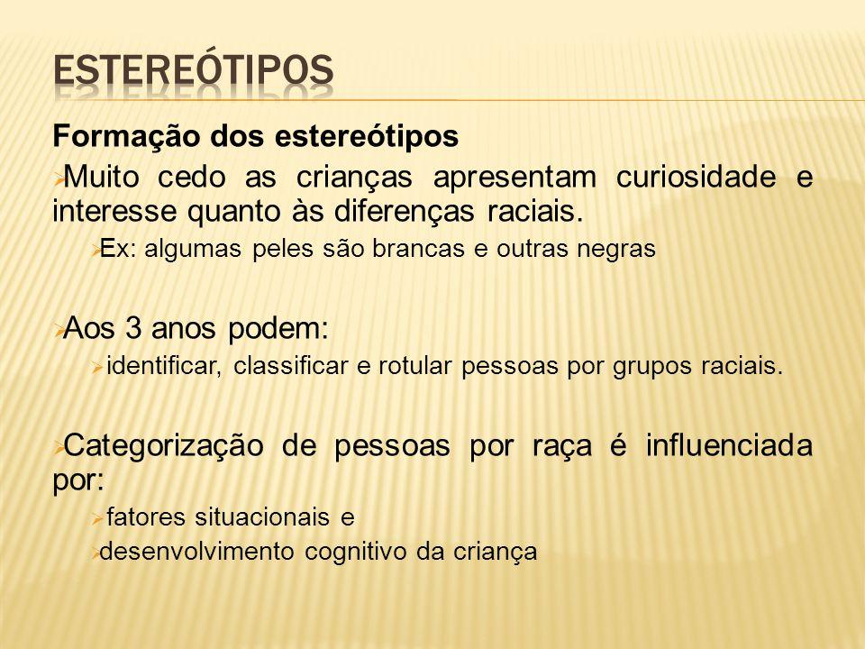 Formação dos estereótipos  Muito cedo as crianças apresentam curiosidade e interesse quanto às diferenças raciais.