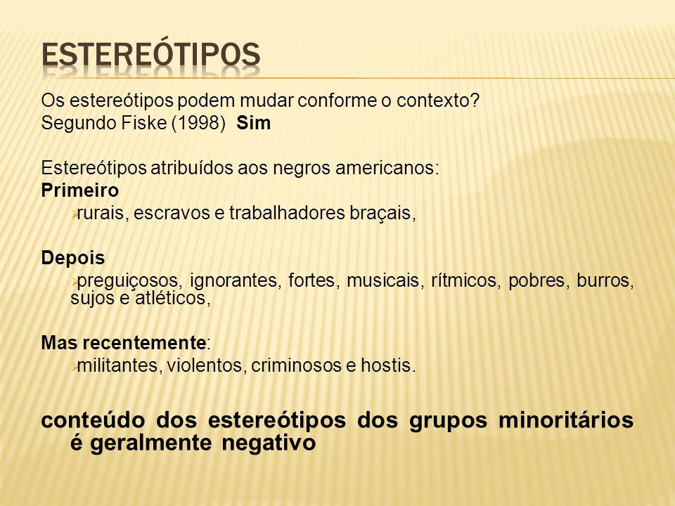 Os estereótipos podem mudar conforme o contexto.