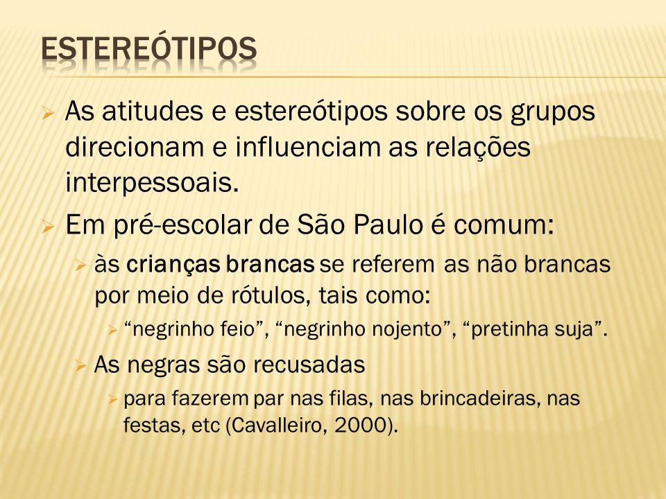  As atitudes e estereótipos sobre os grupos direcionam e influenciam as relações interpessoais.