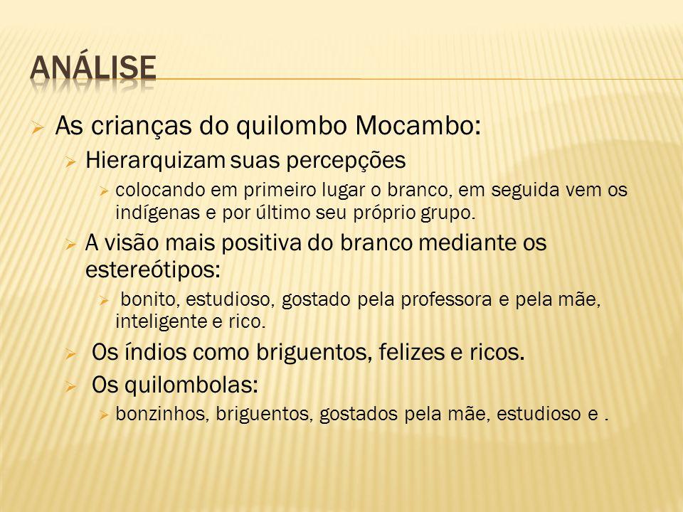  As crianças do quilombo Mocambo:  Hierarquizam suas percepções  colocando em primeiro lugar o branco, em seguida vem os indígenas e por último seu próprio grupo.