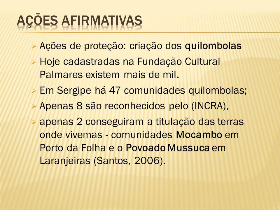 Ações de proteção: criação dos quilombolas  Hoje cadastradas na Fundação Cultural Palmares existem mais de mil.