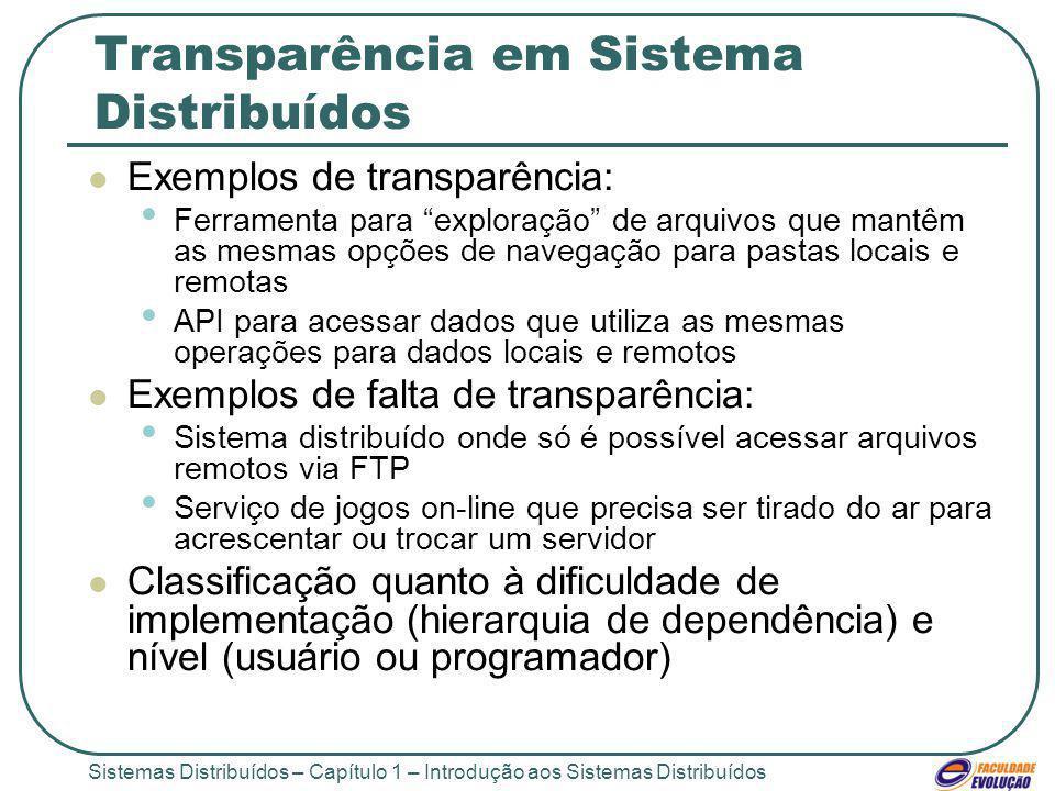 Sistemas Distribuídos – Capítulo 1 – Introdução aos Sistemas Distribuídos Transparência em Sistema Distribuídos Exemplos de transparência: Ferramenta para exploração de arquivos que mantêm as mesmas opções de navegação para pastas locais e remotas API para acessar dados que utiliza as mesmas operações para dados locais e remotos Exemplos de falta de transparência: Sistema distribuído onde só é possível acessar arquivos remotos via FTP Serviço de jogos on-line que precisa ser tirado do ar para acrescentar ou trocar um servidor Classificação quanto à dificuldade de implementação (hierarquia de dependência) e nível (usuário ou programador)