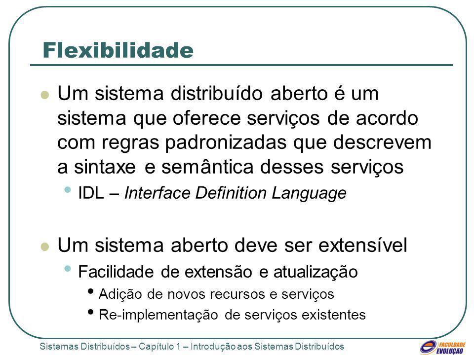 Sistemas Distribuídos – Capítulo 1 – Introdução aos Sistemas Distribuídos Flexibilidade Um sistema distribuído aberto é um sistema que oferece serviço