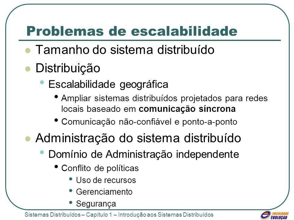 Sistemas Distribuídos – Capítulo 1 – Introdução aos Sistemas Distribuídos Problemas de escalabilidade Tamanho do sistema distribuído Distribuição Esca