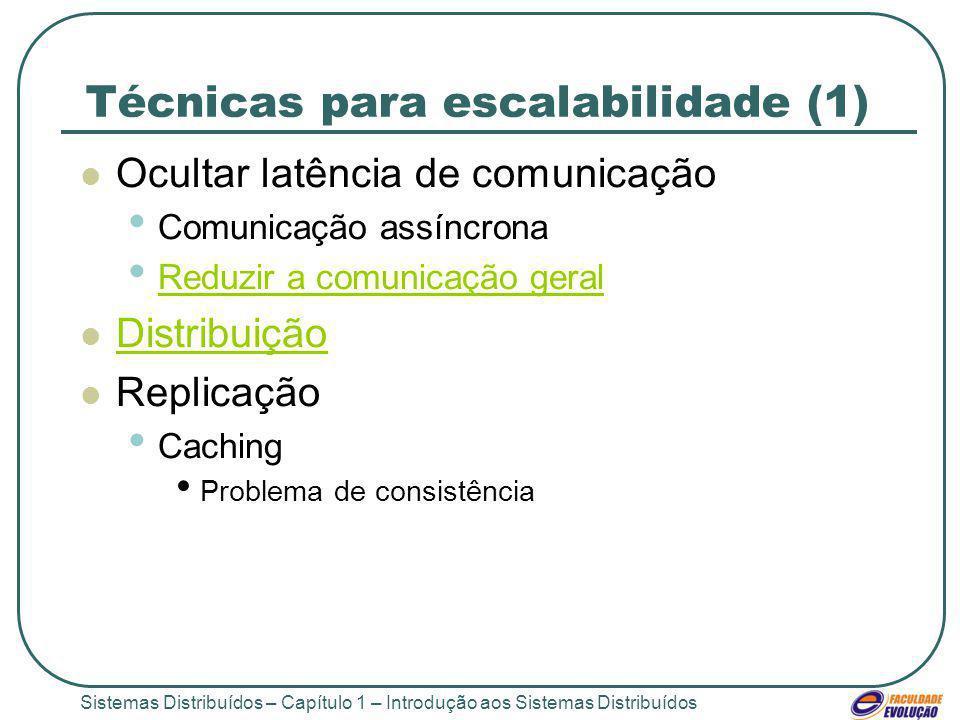 Sistemas Distribuídos – Capítulo 1 – Introdução aos Sistemas Distribuídos Técnicas para escalabilidade (1) Ocultar latência de comunicação Comunicação assíncrona Reduzir a comunicação geral Distribuição Replicação Caching Problema de consistência