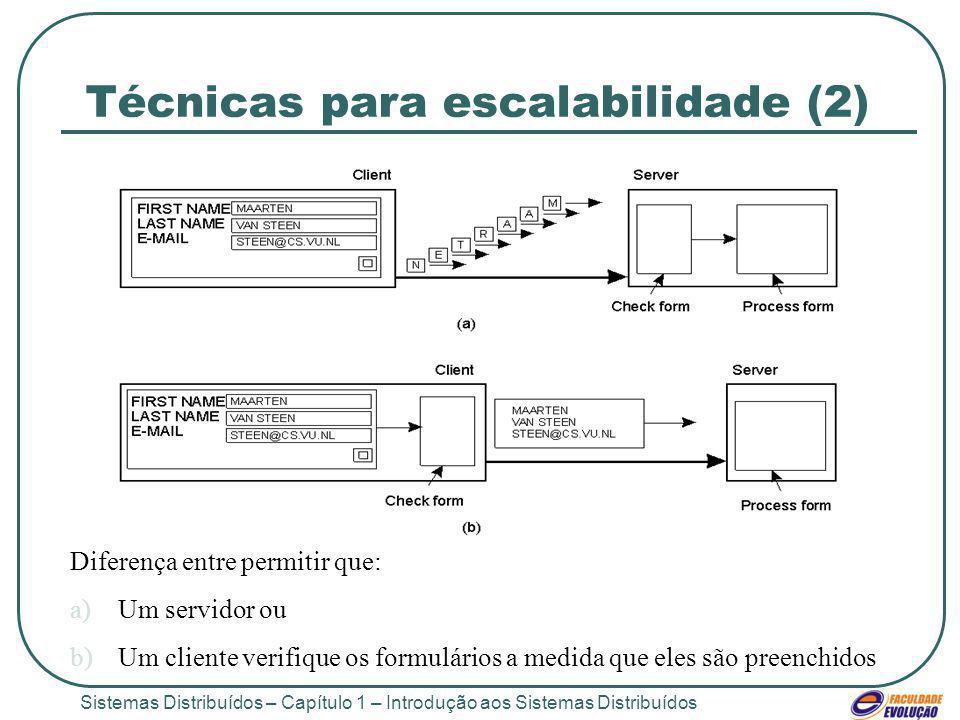 Sistemas Distribuídos – Capítulo 1 – Introdução aos Sistemas Distribuídos Técnicas para escalabilidade (2) 1.4 Diferença entre permitir que: a)Um servidor ou b)Um cliente verifique os formulários a medida que eles são preenchidos