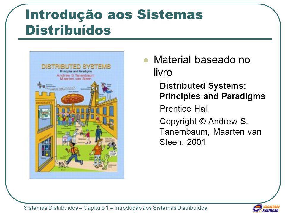 Sistemas Distribuídos – Capítulo 1 – Introdução aos Sistemas Distribuídos Introdução aos Sistemas Distribuídos Material baseado no livro Distributed S
