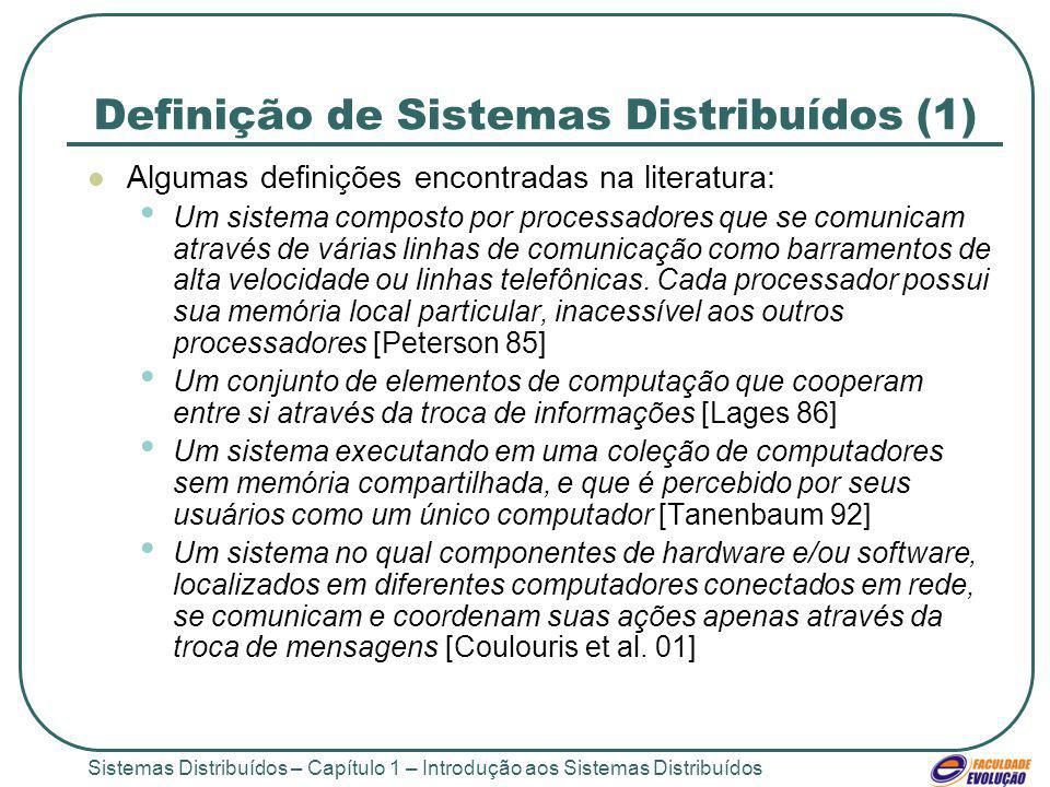 Sistemas Distribuídos – Capítulo 1 – Introdução aos Sistemas Distribuídos Definição de Sistemas Distribuídos (1) Algumas definições encontradas na literatura: Um sistema composto por processadores que se comunicam através de várias linhas de comunicação como barramentos de alta velocidade ou linhas telefônicas.