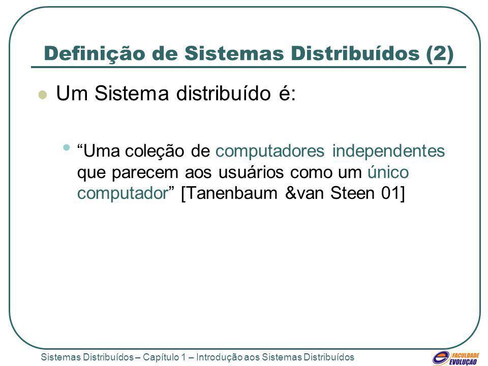 Sistemas Distribuídos – Capítulo 1 – Introdução aos Sistemas Distribuídos Definição de Sistemas Distribuídos (2) Um Sistema distribuído é: Uma coleção de computadores independentes que parecem aos usuários como um único computador [Tanenbaum &van Steen 01]