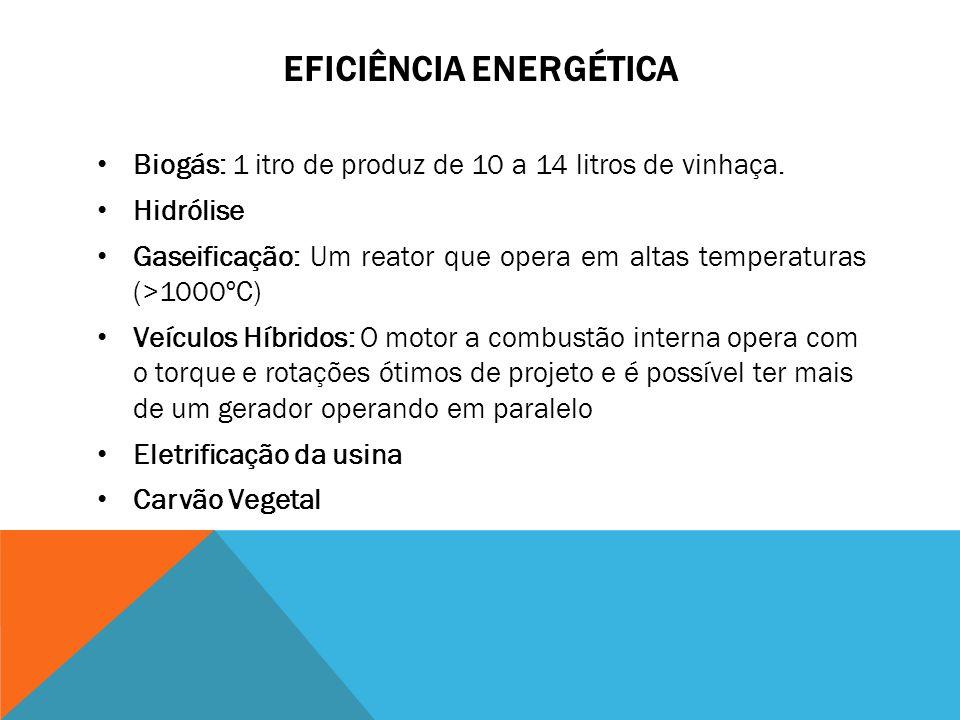 EFICIÊNCIA ENERGÉTICA Biogás: 1 itro de produz de 10 a 14 litros de vinhaça. Hidrólise Gaseificação: Um reator que opera em altas temperaturas (>1000º