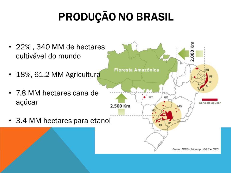 PRODUÇÃO NO BRASIL 22%, 340 MM de hectares cultivável do mundo 18%, 61.2 MM Agricultura 7.8 MM hectares cana de açúcar 3.4 MM hectares para etanol