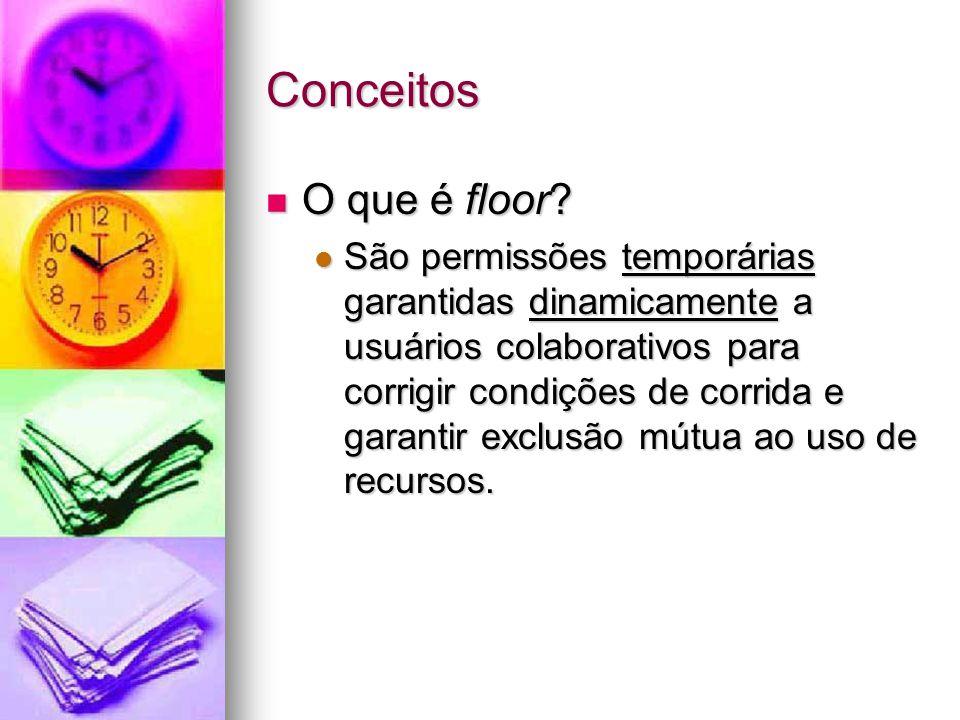 Conceitos O que é floor? O que é floor? São permissões temporárias garantidas dinamicamente a usuários colaborativos para corrigir condições de corrid