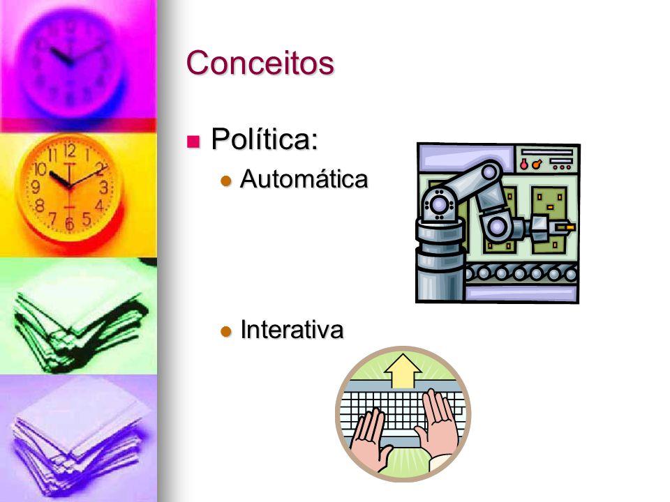 Conceitos Política: Política: Automática Automática Interativa Interativa