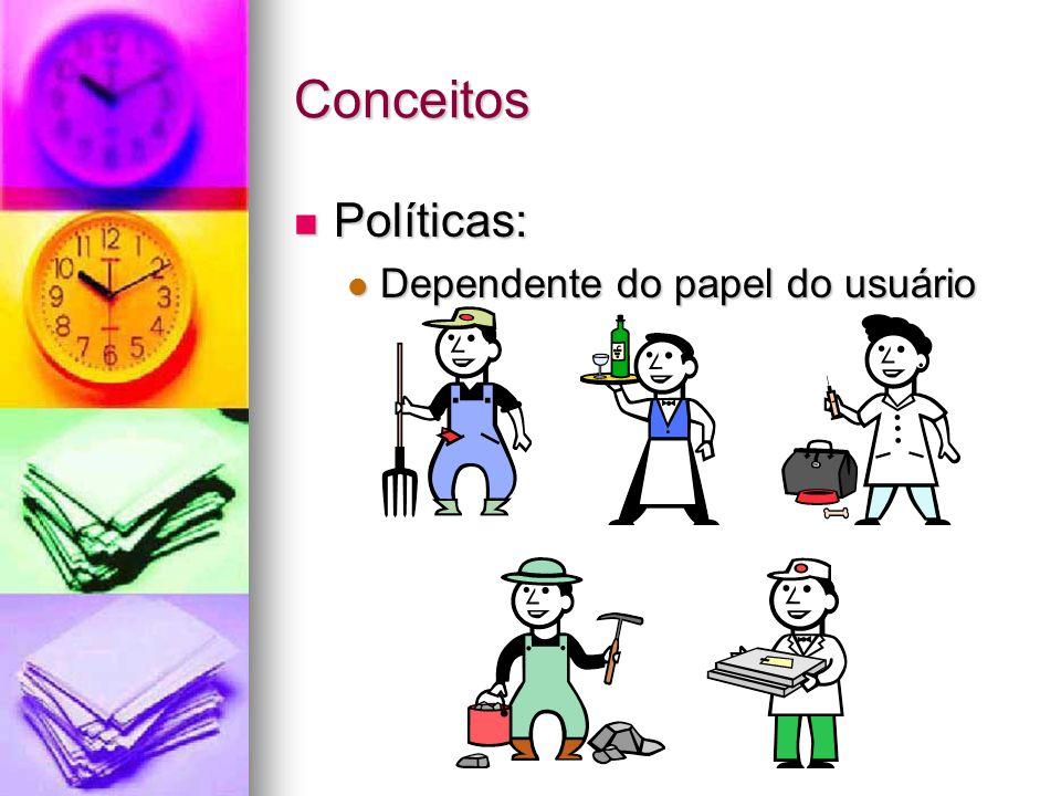 Conceitos Políticas: Políticas: Dependente do papel do usuário Dependente do papel do usuário