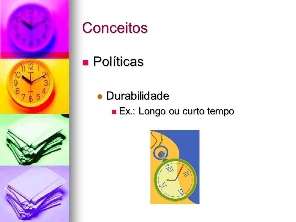 Conceitos Políticas Políticas Durabilidade Durabilidade Ex.: Longo ou curto tempo Ex.: Longo ou curto tempo