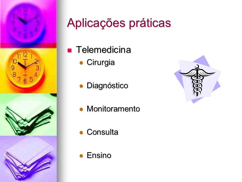 Aplicações práticas Telemedicina Telemedicina Cirurgia Cirurgia Diagnóstico Diagnóstico Monitoramento Monitoramento Consulta Consulta Ensino Ensino