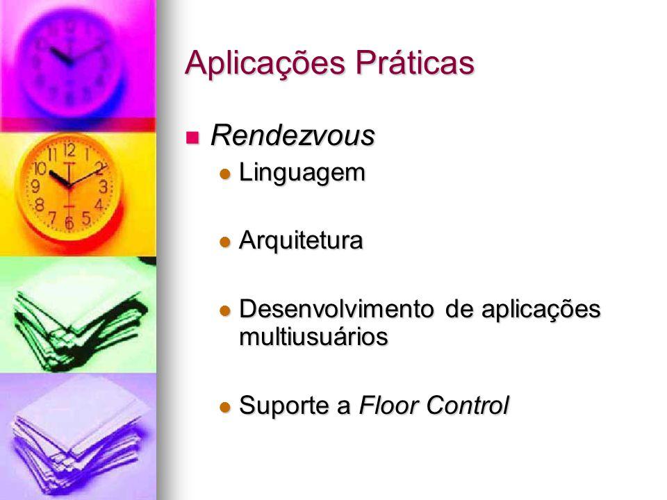 Aplicações Práticas Rendezvous Rendezvous Linguagem Linguagem Arquitetura Arquitetura Desenvolvimento de aplicações multiusuários Desenvolvimento de aplicações multiusuários Suporte a Floor Control Suporte a Floor Control
