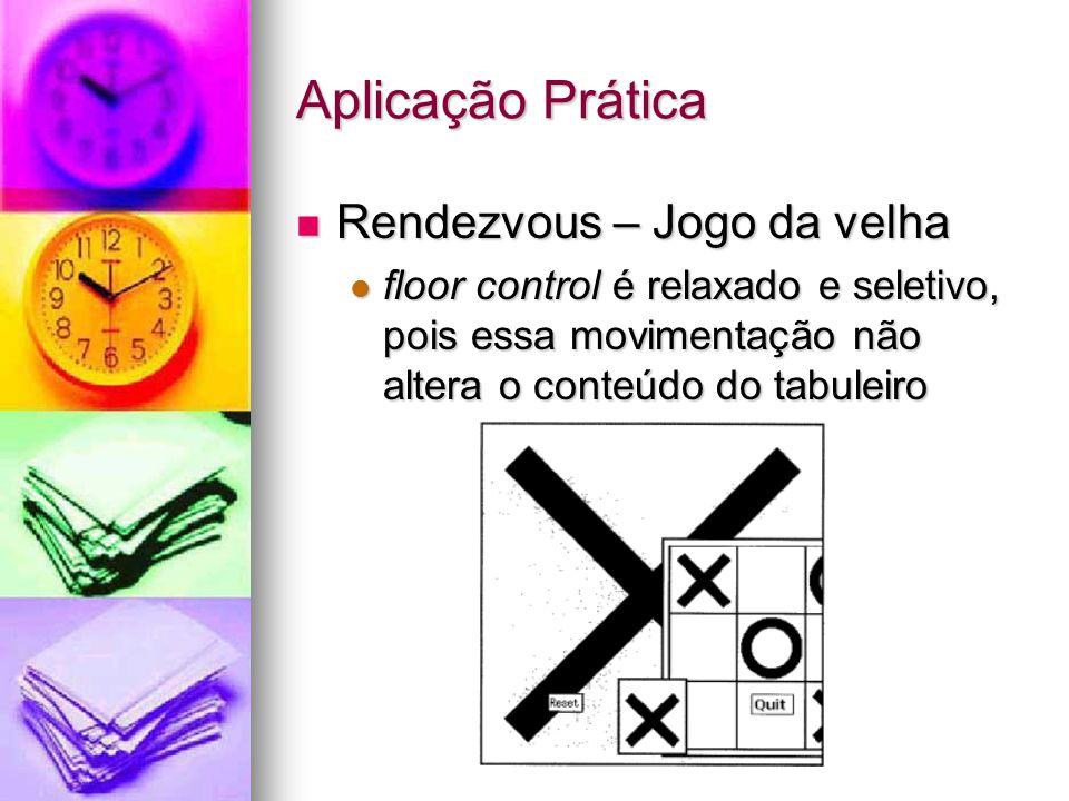 Aplicação Prática Rendezvous – Jogo da velha Rendezvous – Jogo da velha floor control é relaxado e seletivo, pois essa movimentação não altera o conteúdo do tabuleiro floor control é relaxado e seletivo, pois essa movimentação não altera o conteúdo do tabuleiro