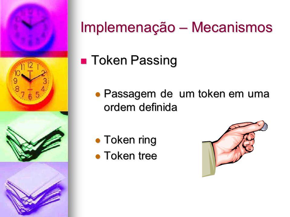 Implemenação – Mecanismos Token Passing Token Passing Passagem de um token em uma ordem definida Passagem de um token em uma ordem definida Token ring Token ring Token tree Token tree