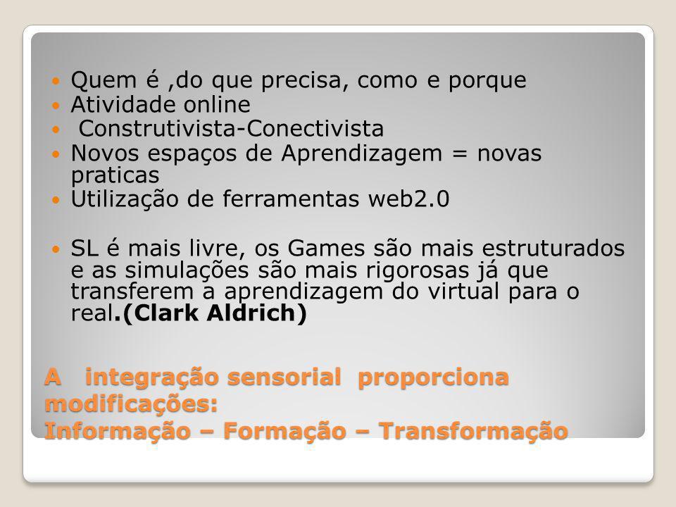 A integração sensorial proporciona modificações: Informação – Formação – Transformação Quem é,do que precisa, como e porque Atividade online Construtivista-Conectivista Novos espaços de Aprendizagem = novas praticas Utilização de ferramentas web2.0 SL é mais livre, os Games são mais estruturados e as simulações são mais rigorosas já que transferem a aprendizagem do virtual para o real.(Clark Aldrich)
