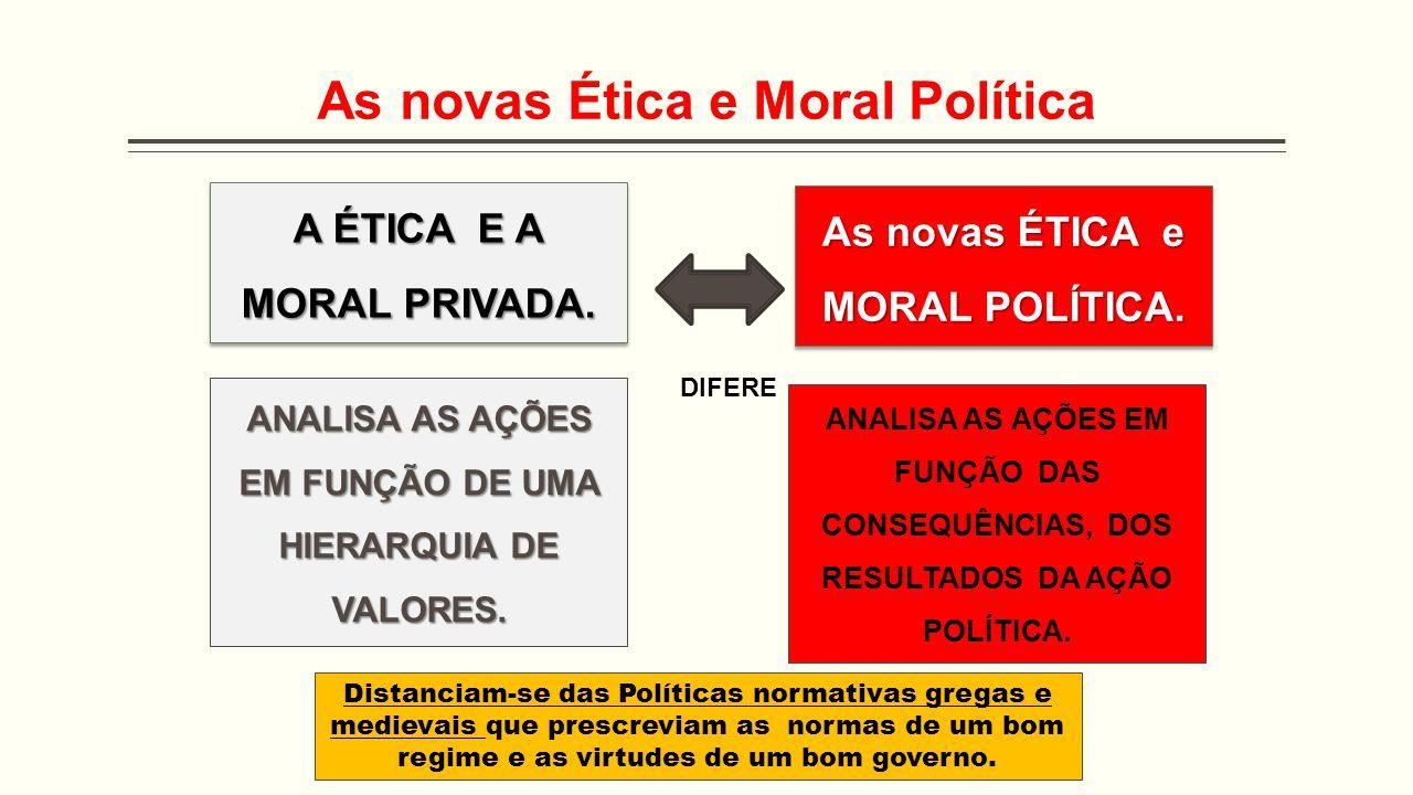 As novas Ética e Moral Política As novas ÉTICA e MORAL POLÍTICA. A ÉTICA E A MORAL PRIVADA. DIFERE ANALISA AS AÇÕES EM FUNÇÃO DE UMA HIERARQUIA DE VAL