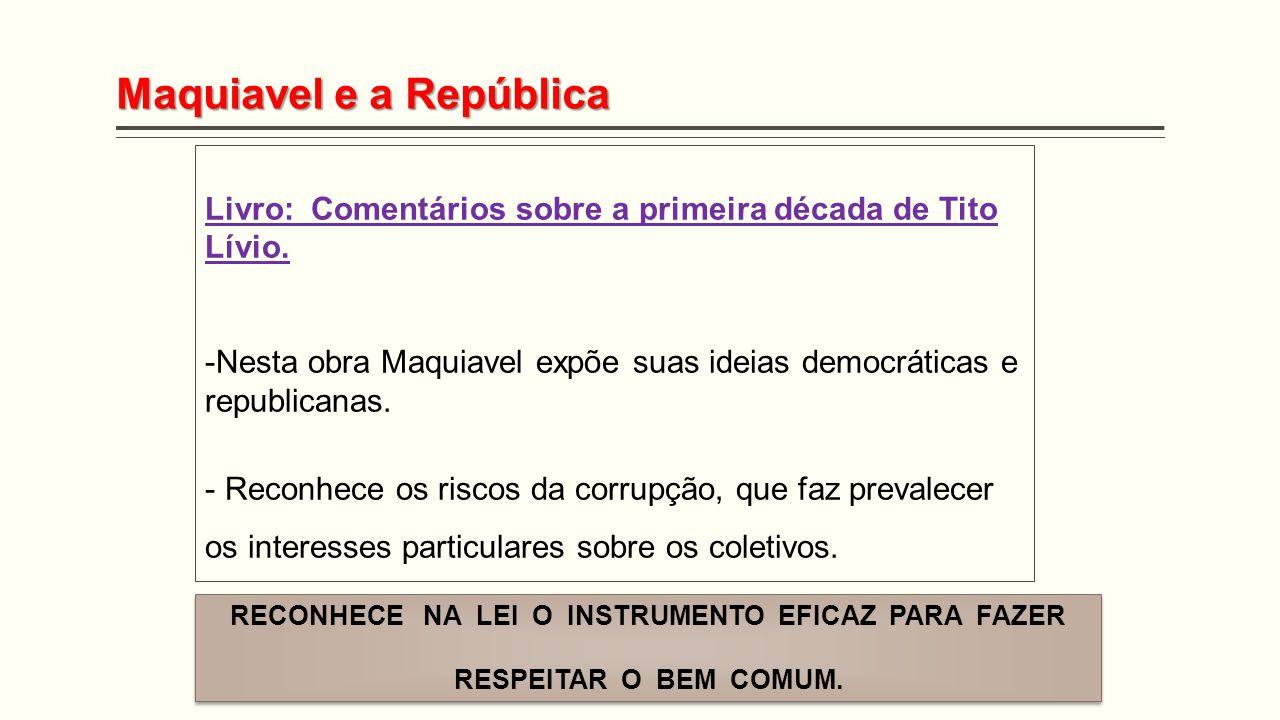 Maquiavel e a República Livro: Comentários sobre a primeira década de Tito Lívio. -Nesta obra Maquiavel expõe suas ideias democráticas e republicanas.