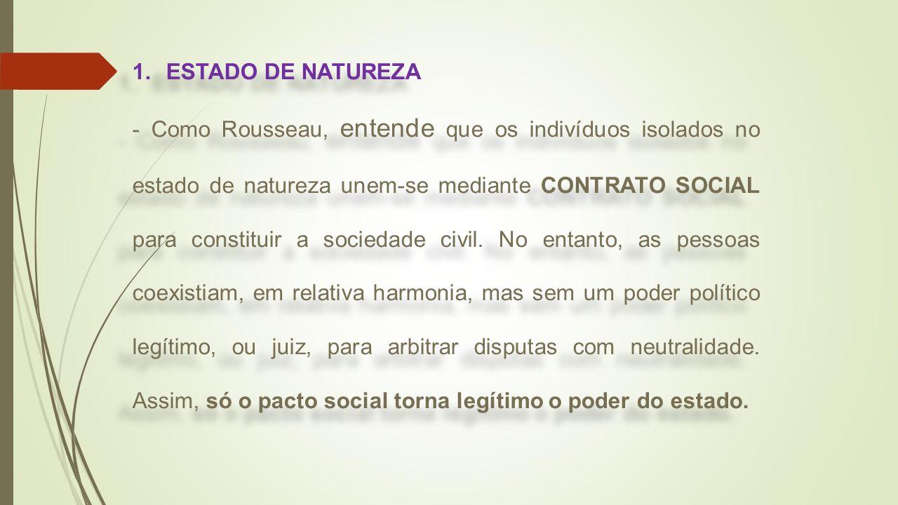 1.ESTADO DE NATUREZA - Como Rousseau, entende que os indivíduos isolados no estado de natureza unem-se mediante CONTRATO SOCIAL para constituir a soci