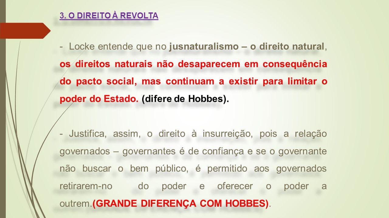 3. O DIREITO À REVOLTA - Locke entende que no jusnaturalismo – o direito natural, os direitos naturais não desaparecem em consequência do pacto social